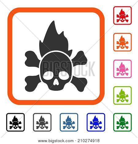 Hellfire icon. Flat gray iconic symbol inside an orange rounded square. Black, gray, green, blue, red, orange color versions of Hellfire vector. Designed for web and application interfaces.