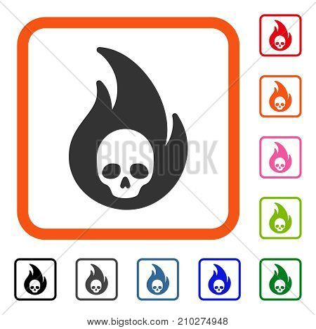Hellfire icon. Flat gray pictogram symbol in an orange rounded squared frame. Black, gray, green, blue, red, orange color versions of Hellfire vector. Designed for web and app user interface.