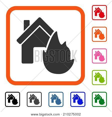 House Fire Disaster icon. Flat grey pictogram symbol inside an orange rounded frame. Black, gray, green, blue, red, orange color variants of House Fire Disaster vector.