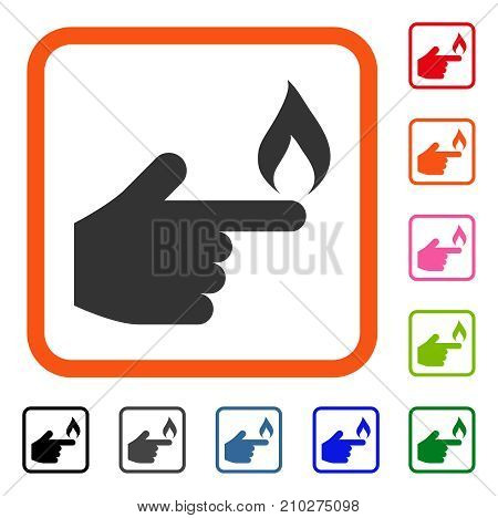 Index Finger Fire icon. Flat gray pictogram symbol inside an orange rounded rectangle. Black, gray, green, blue, red, orange color versions of Index Finger Fire vector.