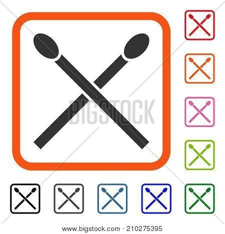 Matches icon. Flat grey pictogram symbol inside an orange rounded squared frame. Black, gray, green, blue, red, orange color variants of Matches vector. Designed for web and app UI.