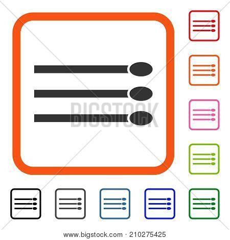 Matches icon. Flat grey iconic symbol in an orange rounded square. Black, gray, green, blue, red, orange color versions of Matches vector. Designed for web and application UI.