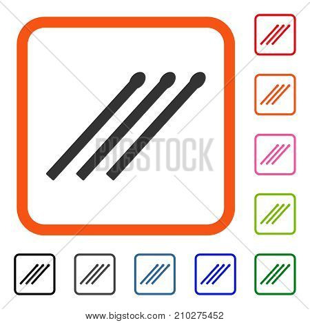 Matches icon. Flat grey pictogram symbol inside an orange rounded square. Black, gray, green, blue, red, orange color variants of Matches vector. Designed for web and application user interface.