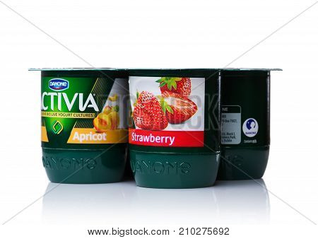 London, Uk - October 20, 2017: Pack Of Activia Yogurt With Apricot And Strawberry On White. Activia