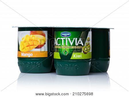 London, Uk - October 20, 2017: Pack Of Activia Yogurt With Mango And Kiwi On White. Activia Is A Bra
