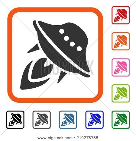 UFO Start icon. Flat gray pictogram symbol in an orange rounded rectangle. Black, gray, green, blue, red, orange color additional versions of UFO Start vector. Designed for web and software UI.