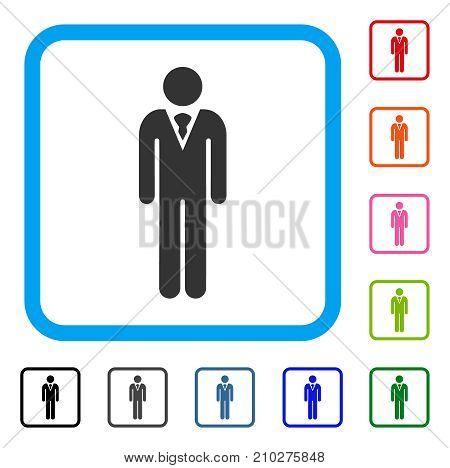 Gentleman icon. Flat gray pictogram symbol in a light blue rounded squared frame. Black, gray, green, blue, red, orange color versions of Gentleman vector.