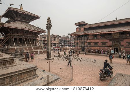 KATHMANDU, NEPAL - APRIL 17 2016: Bhaktapur or Bhadgaon the city of Devotees after the big earthquake from April 2015.