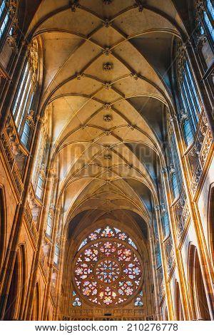 Czech Republic, Prague - September 30, 2017: Interior Of St. Vitus Cathedral At Prague Castle, Czech