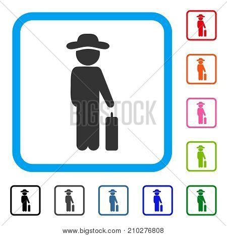 Gentleman Baggage icon. Flat gray iconic symbol inside a light blue rounded rectangular frame. Black, gray, green, blue, red, orange color additional versions of Gentleman Baggage vector.