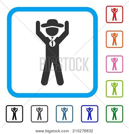 Gentleman Champion icon. Flat grey iconic symbol inside a light blue rounded rectangle. Black, gray, green, blue, red, orange color variants of Gentleman Champion vector.
