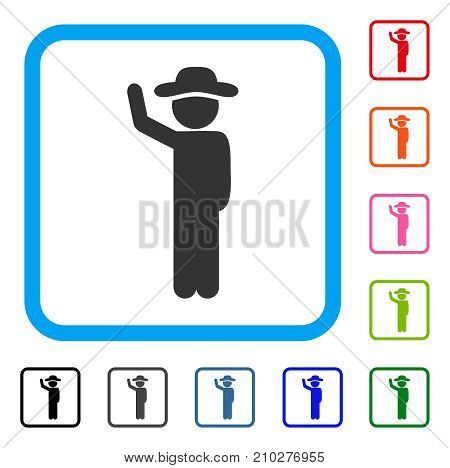Gentleman Hitchhike icon. Flat gray pictogram symbol in a light blue rounded rectangular frame. Black, gray, green, blue, red, orange color additional versions of Gentleman Hitchhike vector.