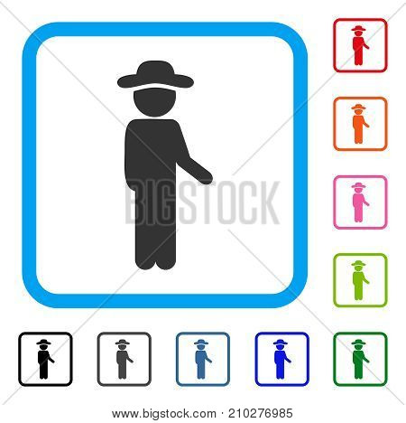 Gentleman Idler icon. Flat gray iconic symbol inside a light blue rounded squared frame. Black, gray, green, blue, red, orange color versions of Gentleman Idler vector.