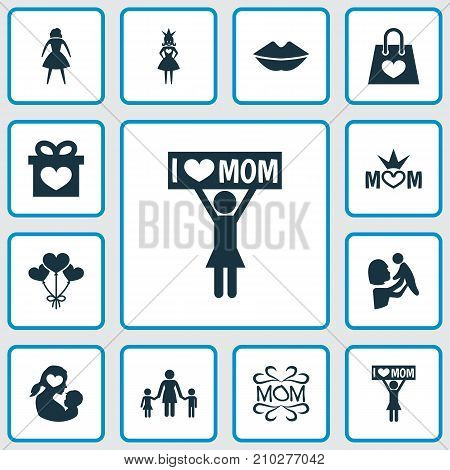 Mothers Day Icon Design Concept. Set Of 12 Such Elements As Mom, Package And Decoration