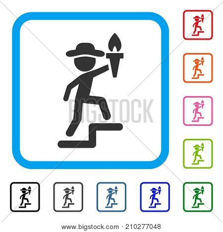 Gentleman Leader icon. Flat grey pictogram symbol inside a light blue rounded rectangle. Black, gray, green, blue, red, orange color versions of Gentleman Leader vector.