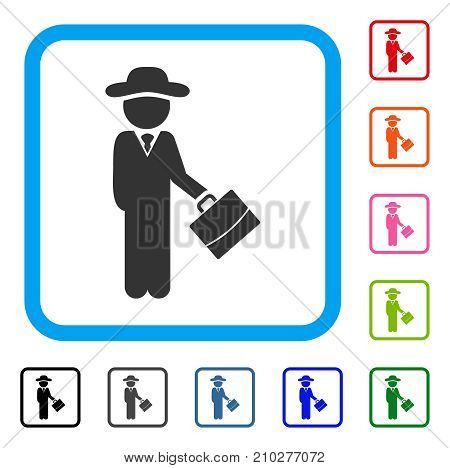Gentleman Manager icon. Flat grey iconic symbol inside a light blue rounded rectangle. Black, gray, green, blue, red, orange color versions of Gentleman Manager vector.