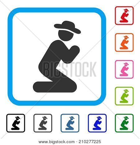 Gentleman Pray icon. Flat grey iconic symbol in a light blue rounded square. Black, gray, green, blue, red, orange color versions of Gentleman Pray vector. Designed for web and software interfaces.