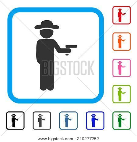 Gentleman Robber icon. Flat grey pictogram symbol inside a light blue rounded rectangular frame. Black, gray, green, blue, red, orange color versions of Gentleman Robber vector.