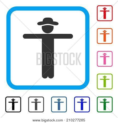 Gentleman Scarescrow icon. Flat grey iconic symbol inside a light blue rounded square. Black, gray, green, blue, red, orange color additional versions of Gentleman Scarescrow vector.