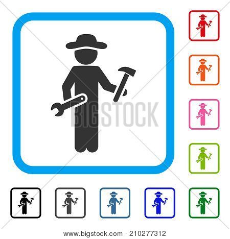 Gentleman Serviceman icon. Flat gray pictogram symbol inside a light blue rounded squared frame. Black, gray, green, blue, red, orange color versions of Gentleman Serviceman vector.