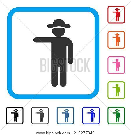 Gentleman Show icon. Flat gray pictogram symbol inside a light blue rounded frame. Black, gray, green, blue, red, orange color versions of Gentleman Show vector.