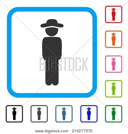 Gentleman Standing icon. Flat grey pictogram symbol inside a light blue rounded frame. Black, gray, green, blue, red, orange color versions of Gentleman Standing vector.