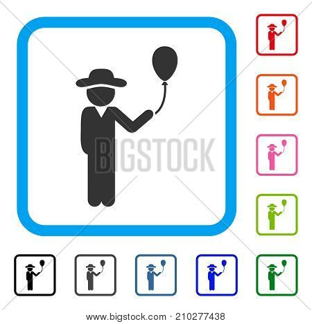 Gentleman With Balloon icon. Flat grey iconic symbol in a light blue rounded squared frame. Black, gray, green, blue, red, orange color versions of Gentleman With Balloon vector.