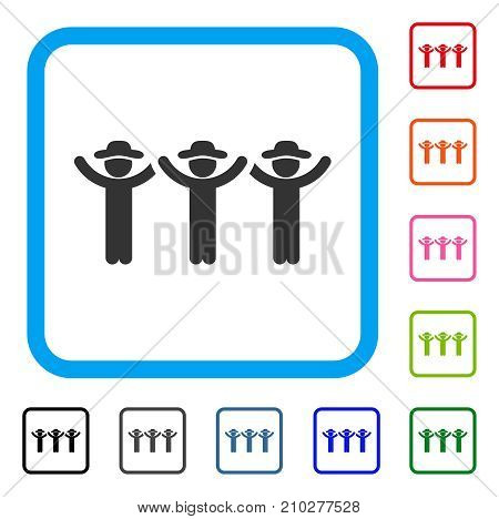 Gentlemen Hands Up Roundelay icon. Flat grey pictogram symbol in a light blue rounded frame. Black, gray, green, blue, red, orange color additional versions of Gentlemen Hands Up Roundelay vector.