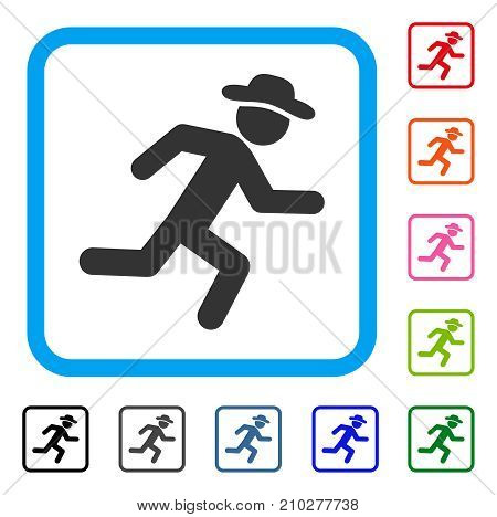 Running Gentleman icon. Flat gray iconic symbol in a light blue rounded rectangular frame. Black, gray, green, blue, red, orange color additional versions of Running Gentleman vector.