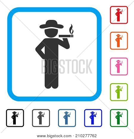 Smoking Gentleman icon. Flat gray iconic symbol in a light blue rounded square. Black, gray, green, blue, red, orange color additional versions of Smoking Gentleman vector.