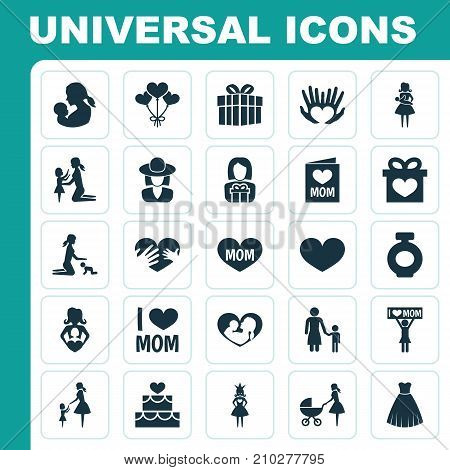 Mothers Day Icon Design Concept. Set Of 25 Such Elements As Invitation, Stroller And Playing
