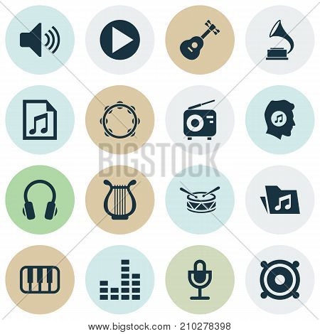 Audio Icons Set. Collection Of Dossier, File, Phonograph And Other Elements
