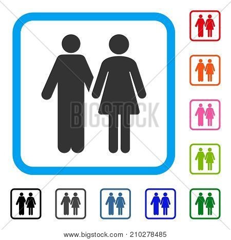 Married Couple icon. Flat grey pictogram symbol in a light blue rounded squared frame. Black, gray, green, blue, red, orange color variants of Married Couple vector.