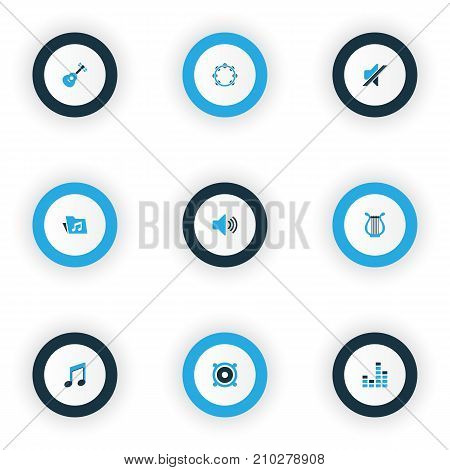 Multimedia Colorful Icons Set. Collection Of Mixer, Folder, Note And Other Elements