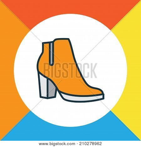 Premium Quality Isolated Female Boots Element In Trendy Style.  Heels Colorful Outline Symbol.