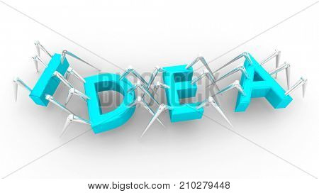 Idea Innovation Invention Spider Bots Letters Word 3d Illustration