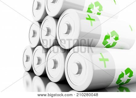 3D Stack Of Batteries With Recycling Symbol .