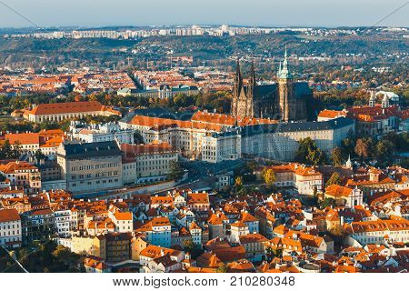 Aerial View Of Mala Strana District, Prague Czech Republic, Red Tile Roofs