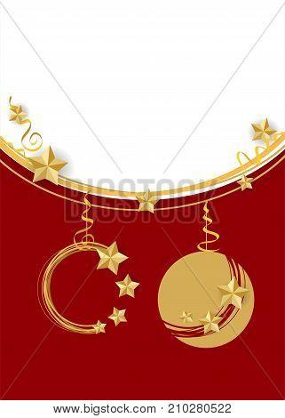 Traditional Christmas ball set mockup background template. Xmas tree garland star lights. Red vector illustration template. Winter seasonal new year greeting card. Festive shimmer star.