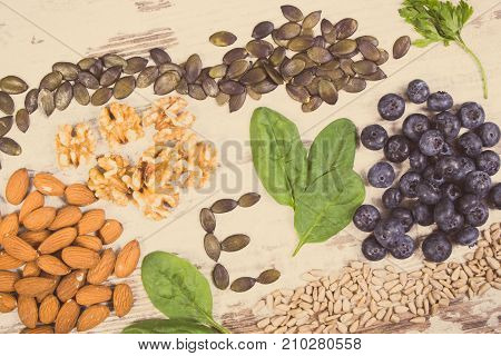 Vintage Photo, Products And Ingredients Containing Vitamin E And Dietary Fiber, Healthy Nutrition Co