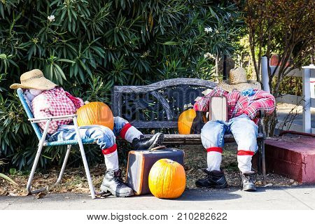 Two Scarecrows With Hats Sitting & Relaxing