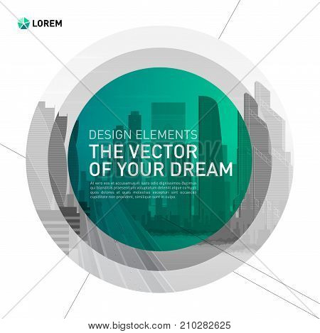 Design element for corporate graphic layout. Modern abstract geometry background template design whith colored cityscape vector illustration for investment, business, real estate, construction.