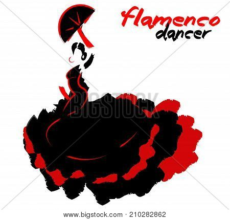 Flamenco dancer, silhouette beautiful Spanish woman in long dress with fan, vector isolated