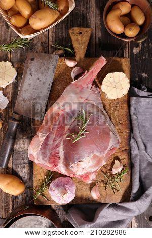 raw lamb leg