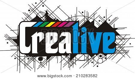 design typography creative writing overlap black background colored