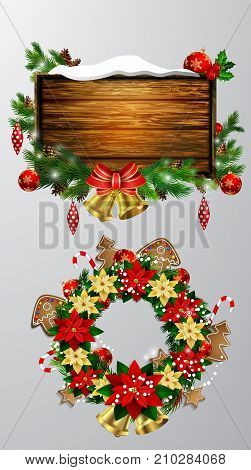 Vector realistic illustration of wooden christmas message board with christmas tree and decorations and Christmas wreath set