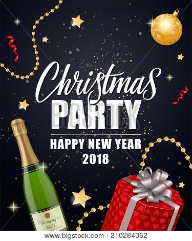Christmas Party Happy New Year 2018 lettering with champagne bottle, gift box and decorations. Holiday, celebration, festivity. Party concept. Can be used for greeting cards, posters and leaflets