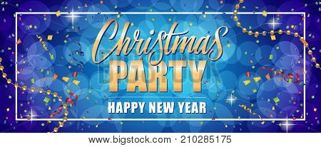 Christmas party Happy New Year text in frame with streamers, beads and confetti on blue background. Holiday, celebration, festivity. Party concept. Can be used for greeting cards, posters, brochure