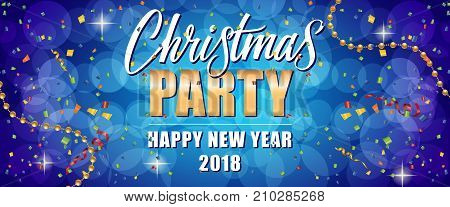Christmas party Happy New Year 2018 text with streamers, beads and confetti on purple bokeh background. Holiday, celebration, festivity. Party concept. Can be used for greeting cards, posters and brochure