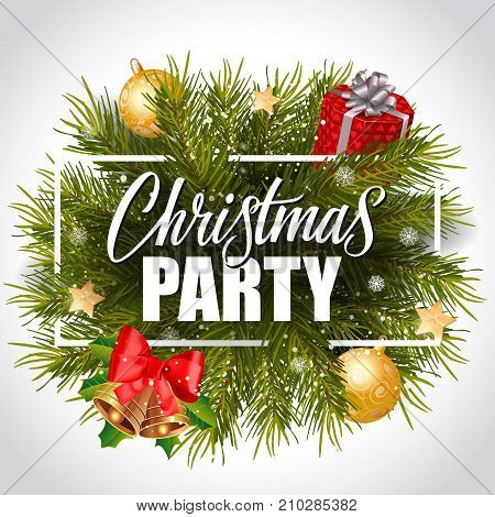 Christmas party lettering in frame with snowy fir wreath, gift box, bells and baubles. Holiday, celebration, festivity. Party concept. Can be used for greeting card, poster, leaflet and brochure